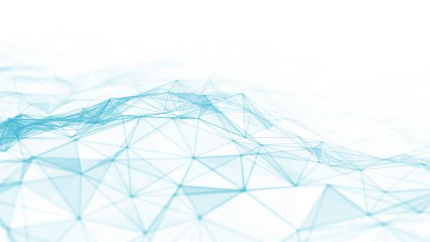 抽象的な 3d は、未来的なドットと線をレンダリングします。コンピュータ幾何学的なデジタル接続構造。未来的な黒い抽象グリッド。粒子を含む神経叢。インテリジェンス人工 - ます目 ストックフォトと画像