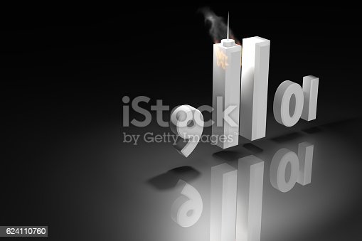 istock Abstract 3D rendering illustration : September 11 2001, Patriot Day. 624110760