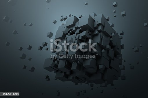 istock Abstract 3D Rendering of Chaotic Cubes 496512688