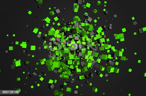 istock Abstract 3D Rendering of Chaotic Cubes 500129146
