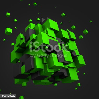 istock Abstract 3D Rendering of Chaotic Cubes 500129222