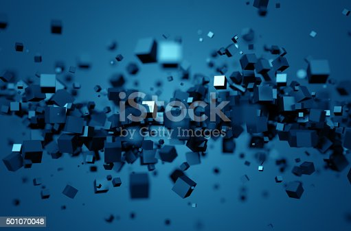 istock Abstract 3D Rendering of Chaotic Cubes 501070048