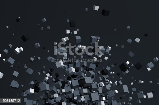 istock Abstract 3D Rendering of Chaotic Cubes 503185712
