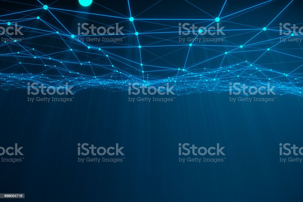 Abstract 3d rendering of chaotic structure. Light background with lines and spheres in empty space. Futuristic shape stock photo