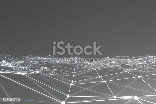 istock Abstract 3d rendering of chaotic structure. Light background with lines and spheres in empty space. Futuristic shape 698054720
