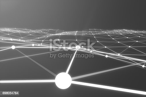 istock Abstract 3d rendering of chaotic structure. Light background with lines and spheres in empty space. Futuristic shape 698054764
