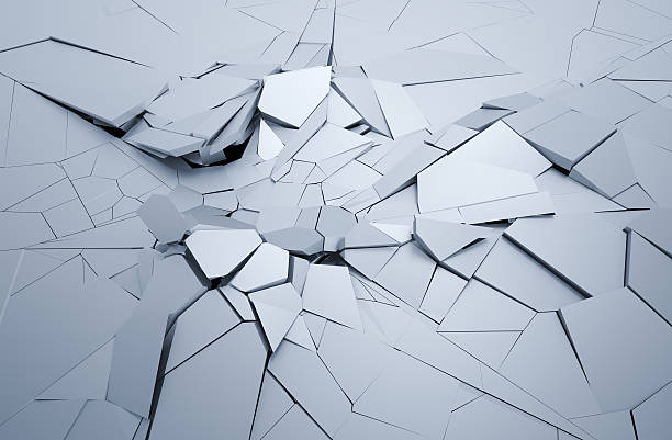 Abstract 3D Rendering of Cracked Surface. Abstract 3d rendering of cracked surface. Background with broken shape. Wall destruction. Explosion with debris.  inconvenience stock pictures, royalty-free photos & images