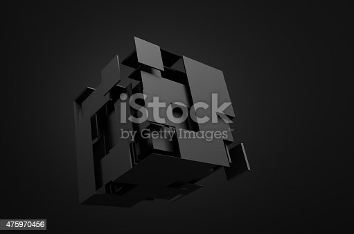 istock Abstract 3d rendering of flying cube 475970456