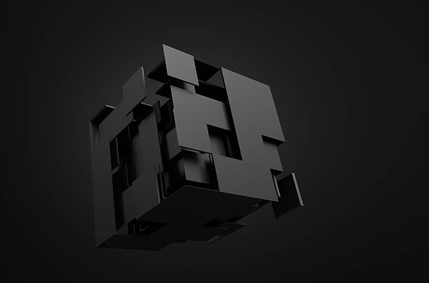 Abstract 3d rendering of flying cube stock photo