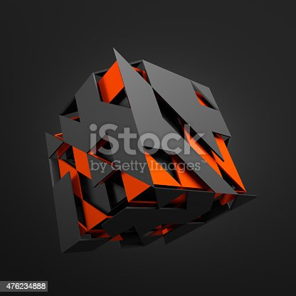 istock Abstract 3D Rendering of Flying Cube 476234888