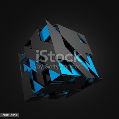 istock Abstract 3D Rendering of Flying Cube 500129206