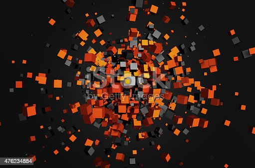 istock Abstract 3d rendering of flying cubes 476234884