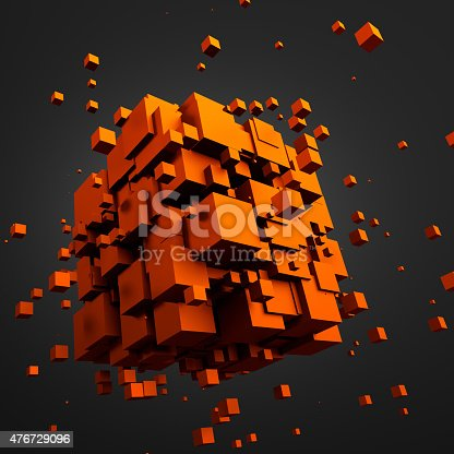 istock Abstract 3D Rendering of Flying Cubes 476729096