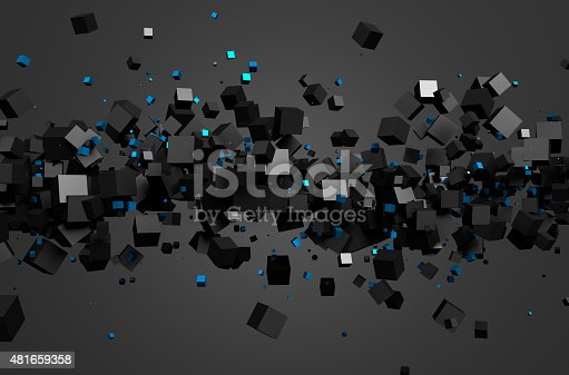 istock Abstract 3D Rendering of Flying Cubes 481659358