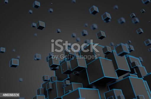 istock Abstract 3D Rendering of Flying Cubes 486066326