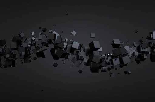 istock Abstract 3D Rendering of Flying Cubes 486534722