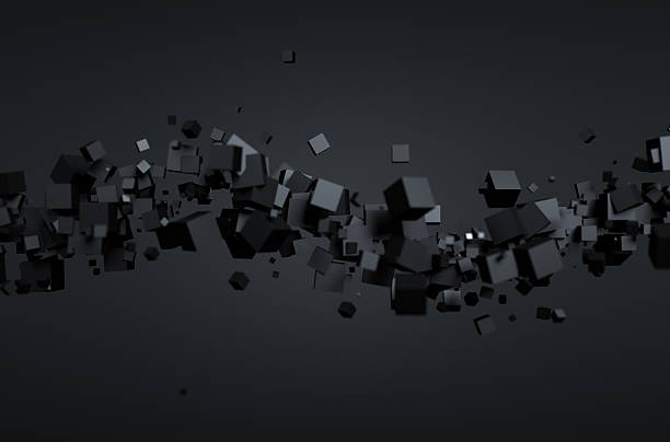 Abstract 3D Rendering of Flying Cubes stock photo
