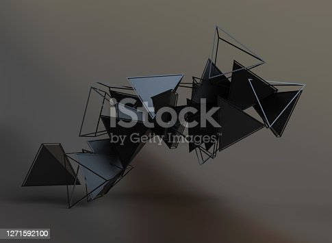 Abstract 3d rendering of chaotic low poly shapes. Flying polygonal pyramids in empty space.