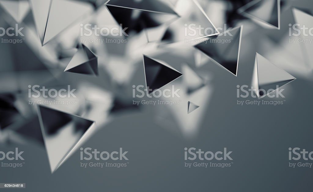 Abstract 3D Rendering of Flying Polygonal Shapes stock photo