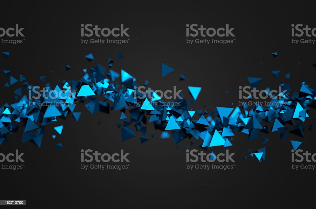 Abstract 3D Rendering of Flying Pyramids stock photo