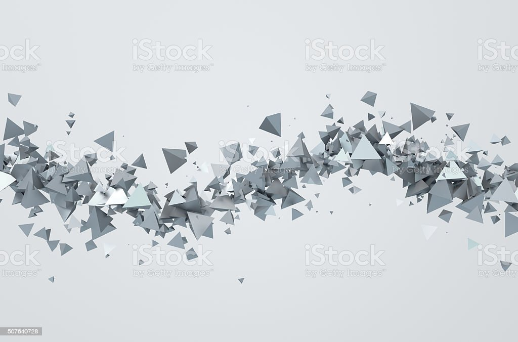 Abstract 3D Rendering of Flying Triangles stock photo
