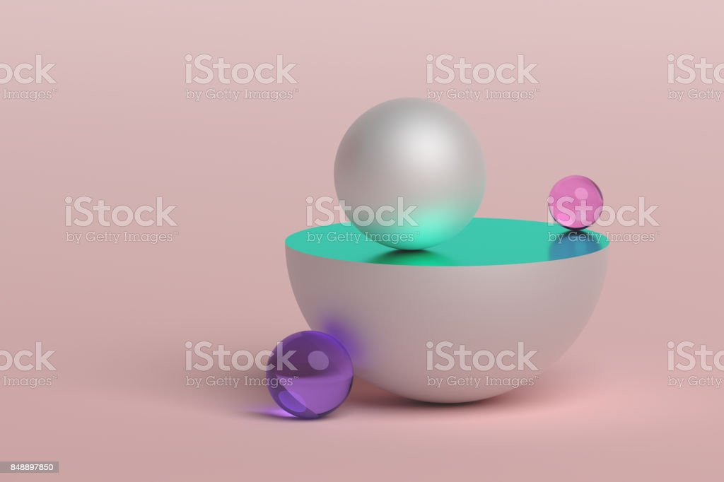 Abstract 3D Rendering of Geometric Shapes. stock photo
