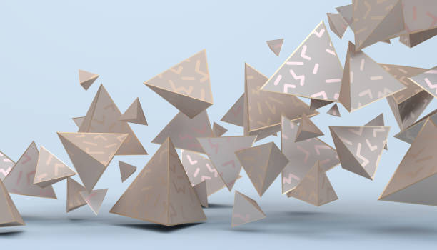 abstract 3d rendering of geometric shapes - low poly rose stock photos and pictures