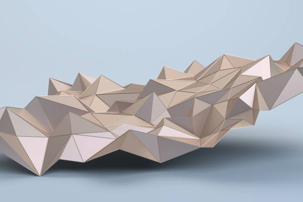 abstract 3d rendering of geometric surface - low poly rose stock photos and pictures