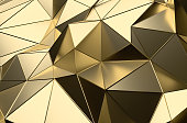 Abstract 3D Rendering of Gold Low Poly Surface