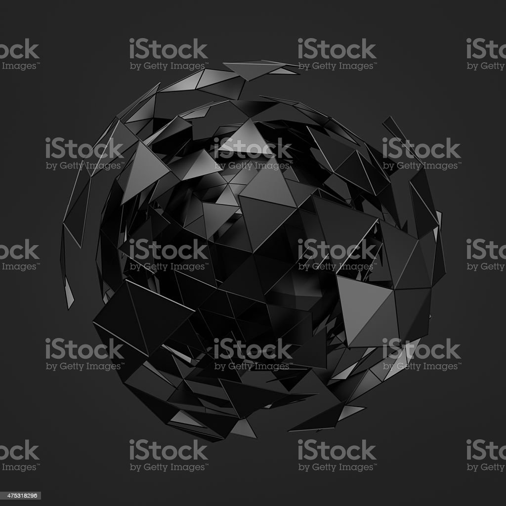 Abstract 3d rendering of low poly black sphere with chaotic stock photo
