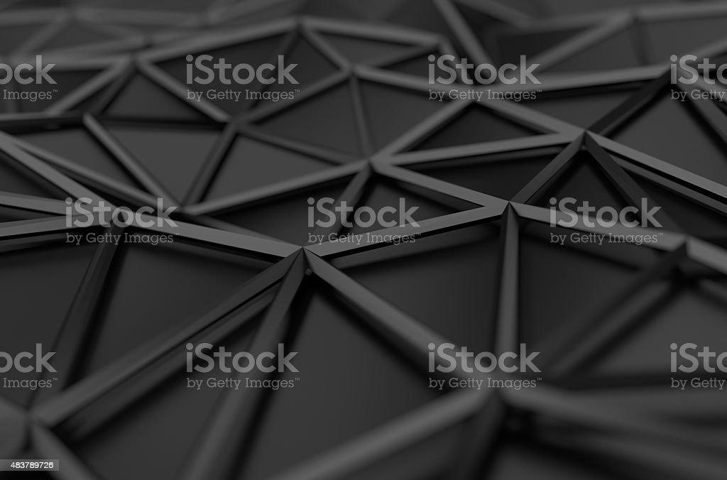 Abstrakte 3D Darstellung von Low Poly Schwarze Oberfläche – Foto