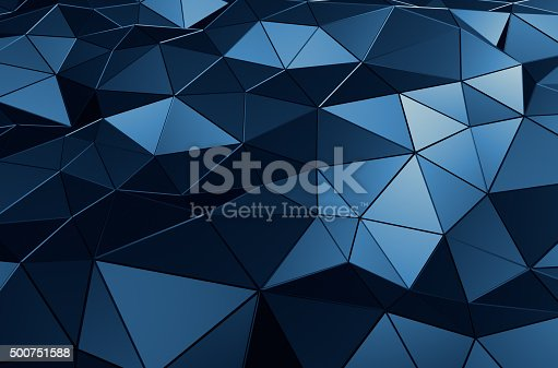 istock Abstract 3D Rendering of Low Poly Blue Surface 500751588