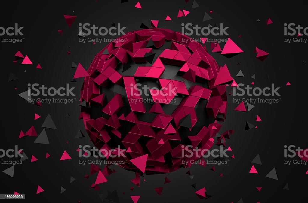 Abstrato animação representação artística de baixa Poly esfera - foto de acervo