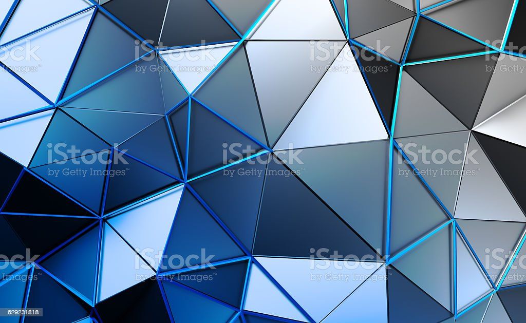 Abstract 3D Rendering of Polygonal Background. stock photo