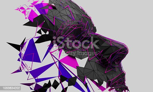 istock Abstract 3D Rendering of Polygonal Human Face 1053834202