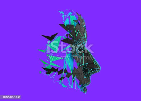 istock Abstract 3D Rendering of Polygonal Human Face 1055437908
