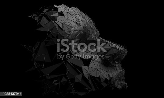 1064469672 istock photo Abstract 3D Rendering of Polygonal Human Face 1055437944