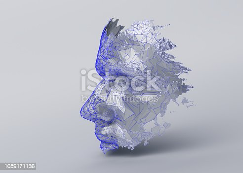 1064469672 istock photo Abstract 3D Rendering of Polygonal Human Face 1059171136
