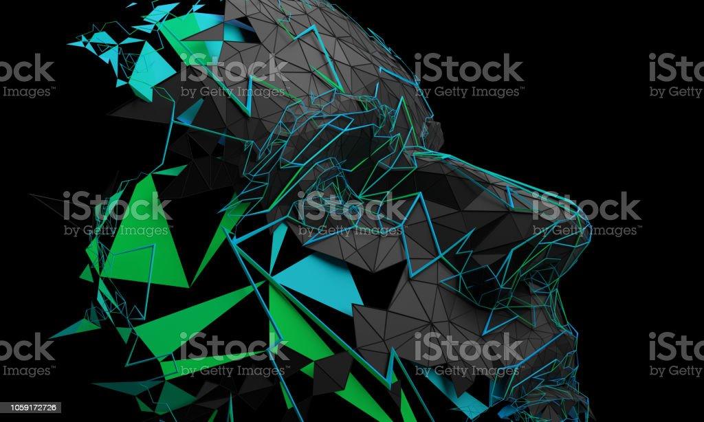 Abstracto 3D representación del rostro humano poligonal - Foto de stock de Abstracto libre de derechos