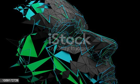 istock Abstract 3D Rendering of Polygonal Human Face 1059172726
