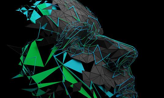 Abstracto 3d Representación Del Rostro Humano Poligonal Foto de stock y más banco de imágenes de Abstracto