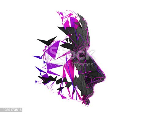istock Abstract 3D Rendering of Polygonal Human Face 1059173816