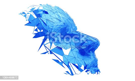 istock Abstract 3D Rendering of Polygonal Human Face 1064469672