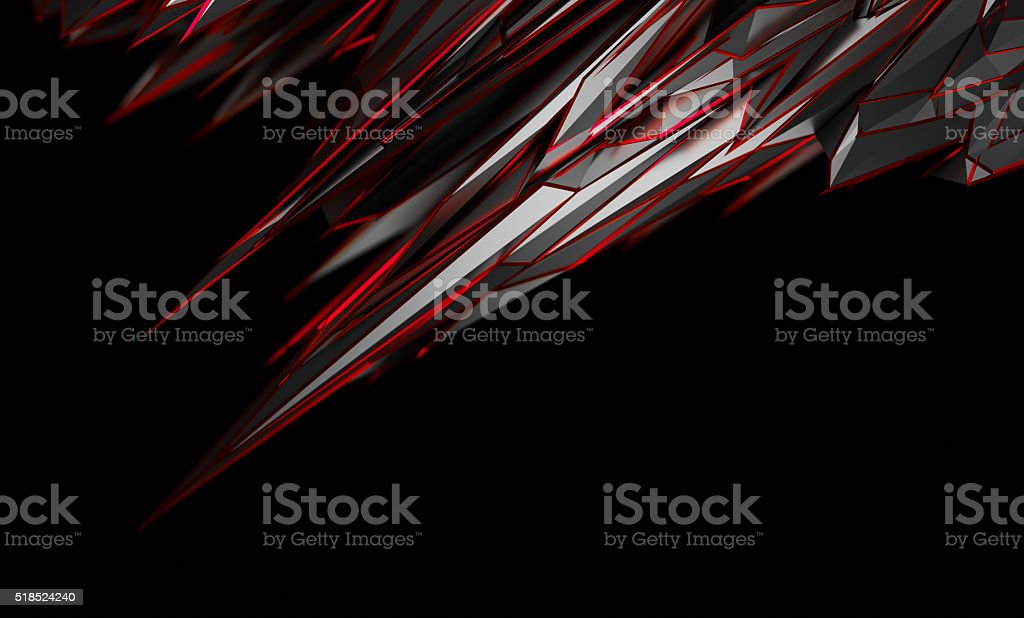 Abstract 3D Rendering of Polygonal Shape. stock photo