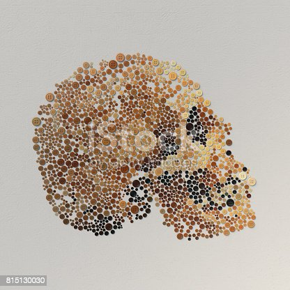 istock Abstract 3d rendering of skull with colored buttons 815130030