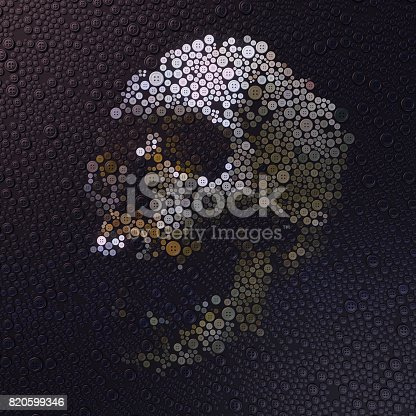 istock Abstract 3d rendering of skull with colored buttons 820599346