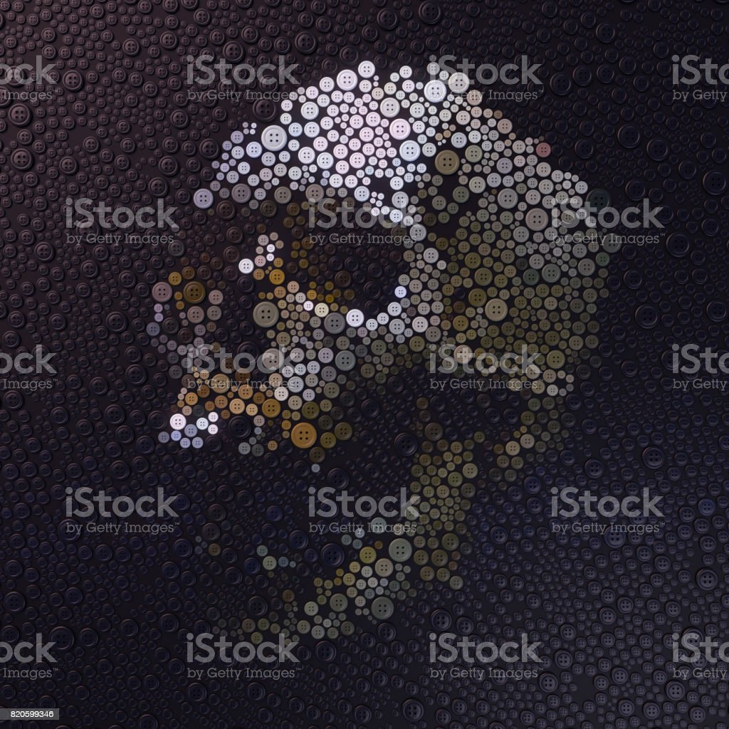 Abstract 3d rendering of skull with colored buttons stock photo