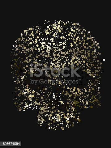 istock Abstract 3d rendering of skull with yellow color circles 626674094