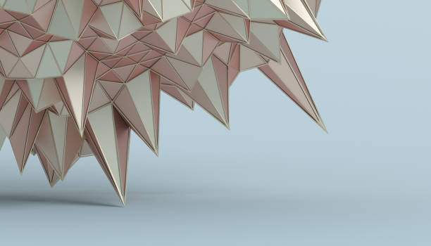 abstract 3d rendering of the polygonal surface - low poly rose stock photos and pictures