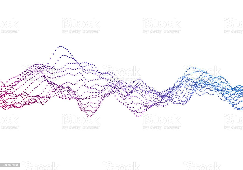 Abstract 3D Rendering of Waves with Particles. stock photo